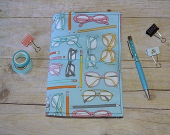 Traveler's Notebook - Fauxdori Notebook - Fabric Dori - Planner - Journal - Custom Notebook - Glasses Print JADori