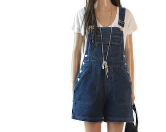 90's DENIM overalls Jumpsuit  romper shorts Oversized Jeans small medium