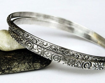 Sterling Silver Bangles Set of Two - Silver Bangle Set - Solid Sterling Bangles - Floral Bracelet Set - Stacking Bangles