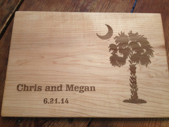 carolina moon personalized cutting board laser engraved south etsy