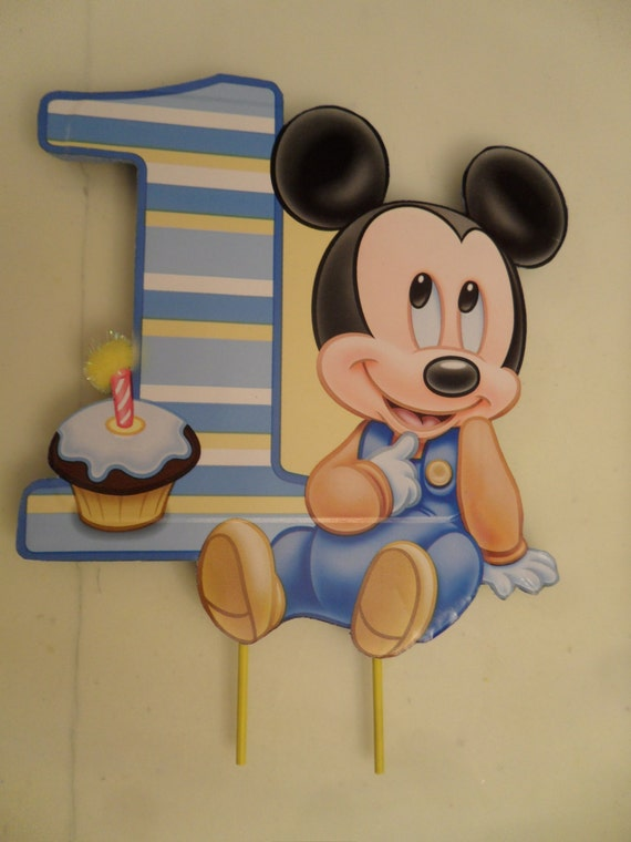 Swell Baby Mickey 1St First One Birthday Cake Topper Etsy Personalised Birthday Cards Sponlily Jamesorg
