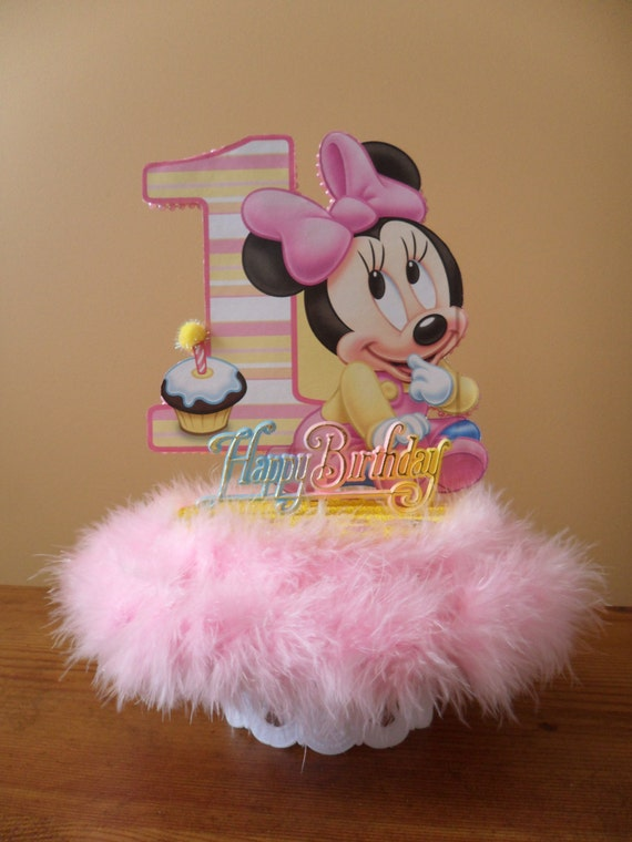 Brilliant Baby Minnie 1St First Birthday Cake Topper Or Centerpiece Etsy Personalised Birthday Cards Veneteletsinfo