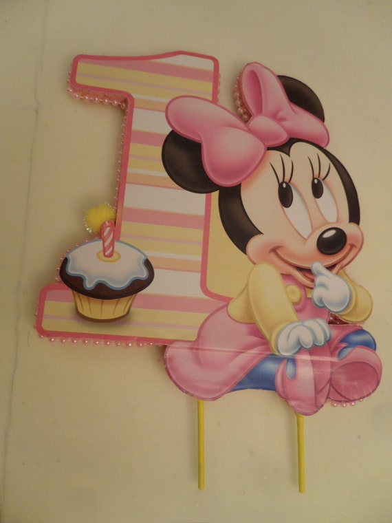 Marvelous Baby Minnie 1St First Birthday Cake Topper Or Centerpiece Etsy Personalised Birthday Cards Veneteletsinfo