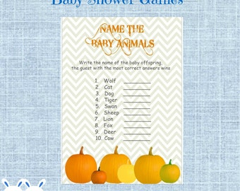 Little Man Bows Baby Shower Baby Animal Name Game With Answers Etsy