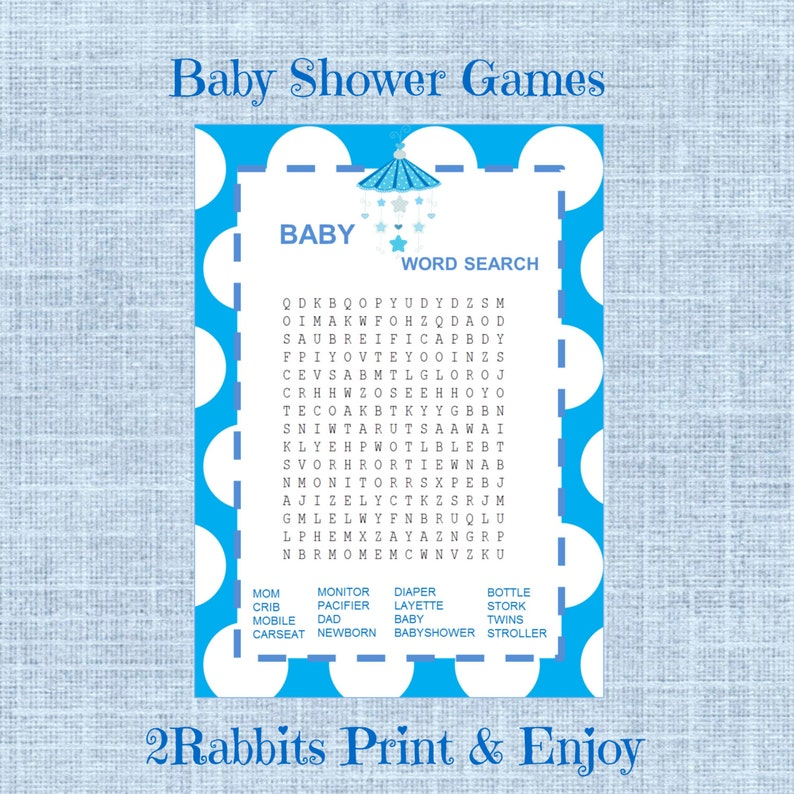 Baby Shower Word Search Game Boy Baby Shower Crossword Puzzle Etsy