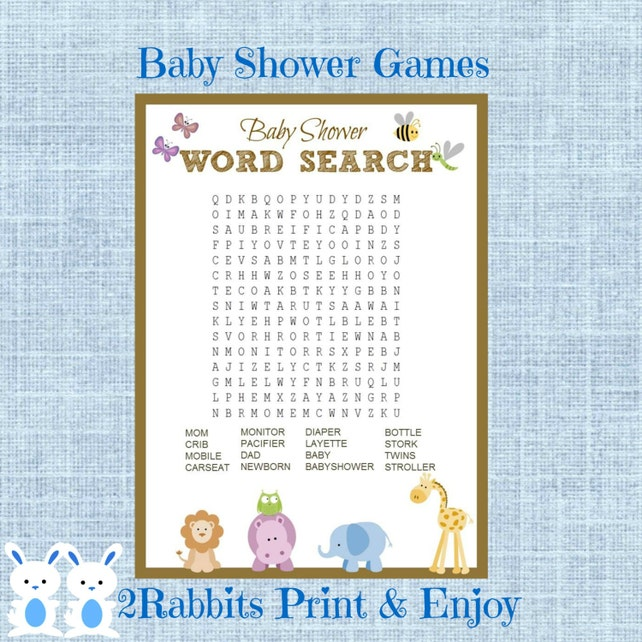 Safari Jungle Animal Baby Shower Word Search Game Baby Shower Etsy