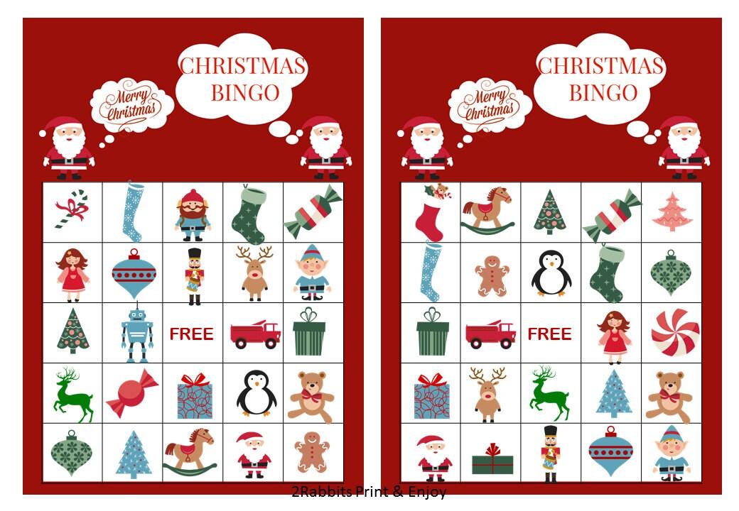 20 Printable Christmas Bingo Cards Prefilled Christmas Clip | Etsy