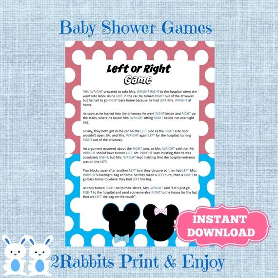 Gender Reveal Left Or Right Baby Shower Game Instant Etsy