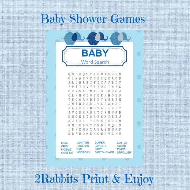 Elephant Boy Baby Shower Word Search Game Baby Shower Etsy