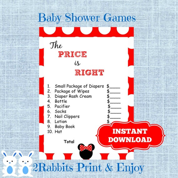 Minnie Mouse Baby Shower The Price Is Right Game Disney Girl Etsy