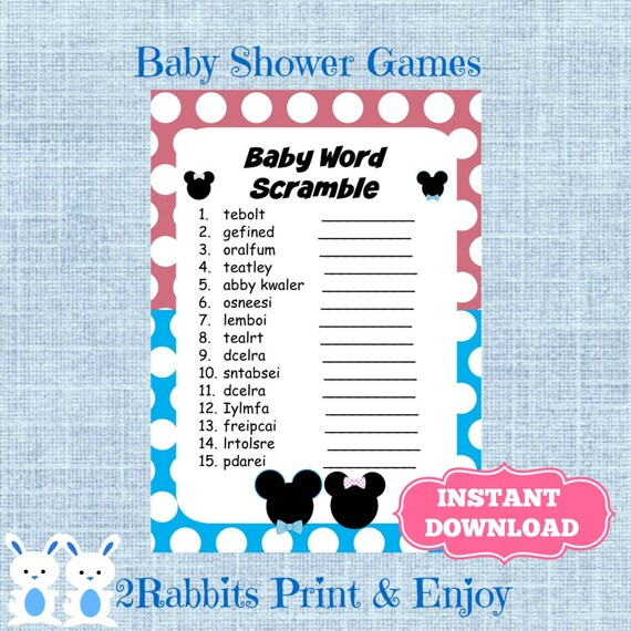 Gender Reveal Baby Shower Word Scramble With Answers Disney Etsy