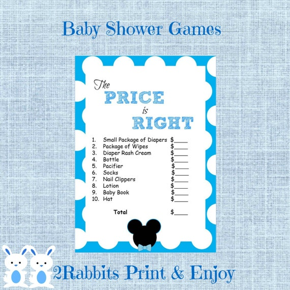 Mickey Mouse Baby Shower The Price Is Right Game Disney Boy Etsy