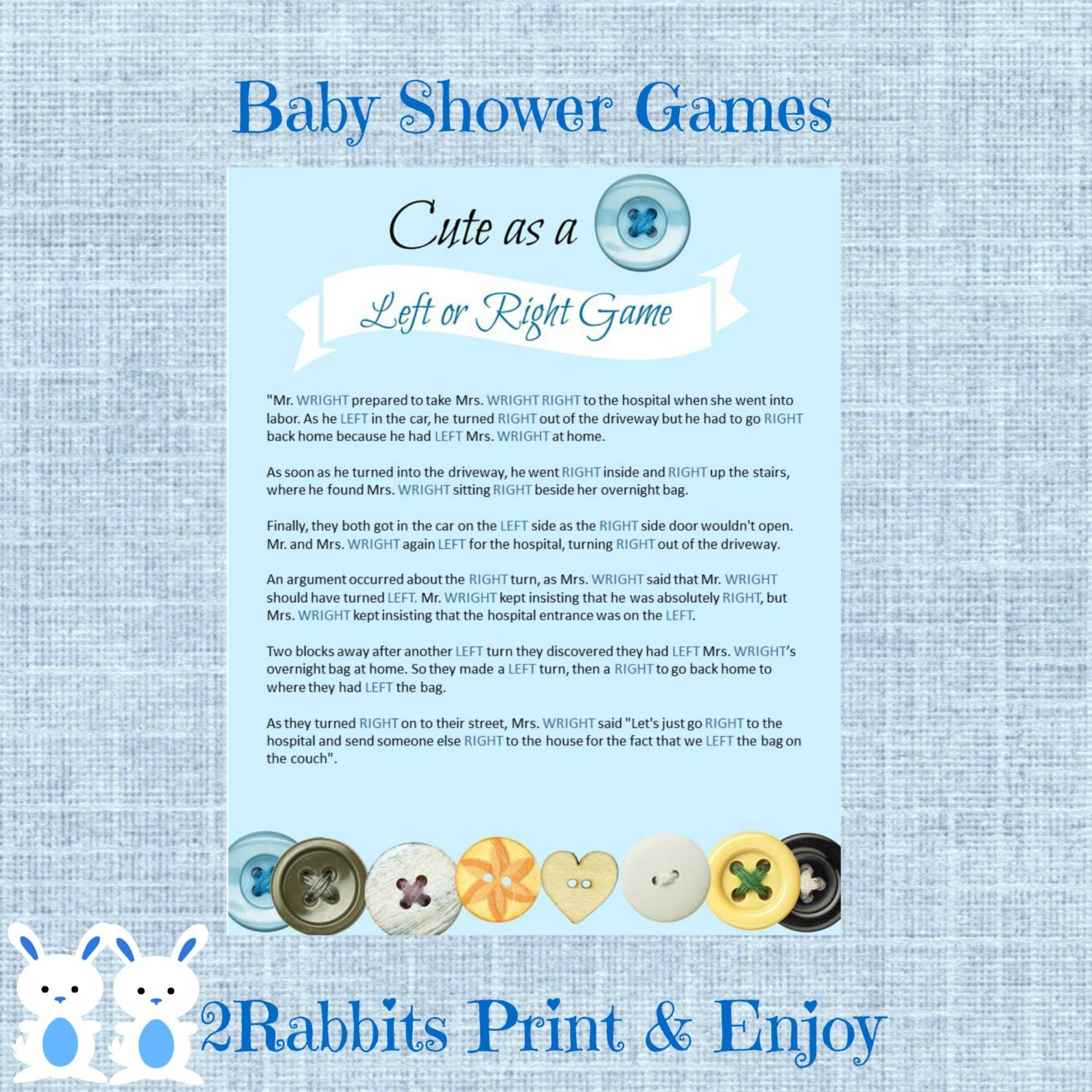 Cute As A Button Left Or Right Baby Shower Game Instant Etsy