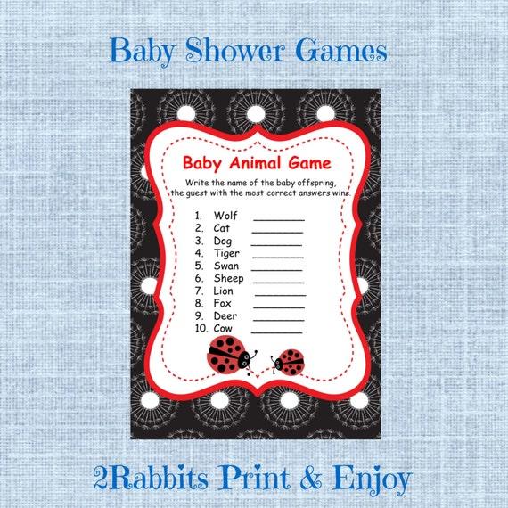Ladybug Baby Shower Baby Animal Name Game Name The Baby Animal Etsy