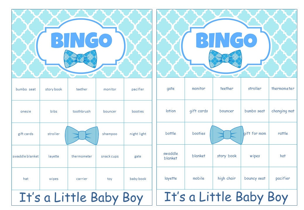 Boy Baby Shower Bingo Cards Prefilled with Baby Gift Words   Etsy