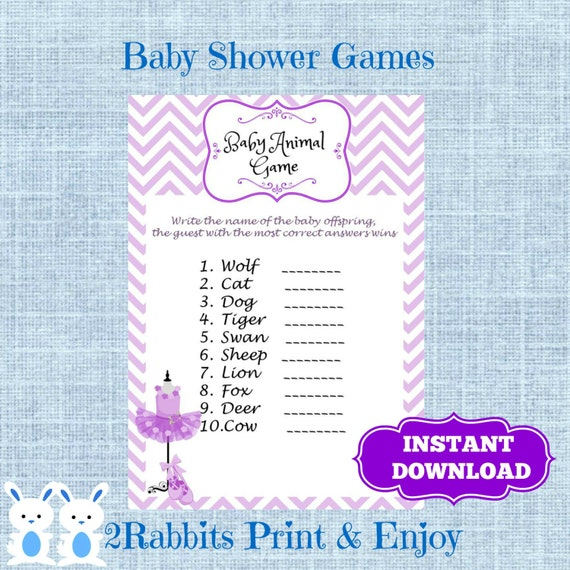 Ballerina Tutu Purple Baby Shower Baby Animal Name Game Name Etsy