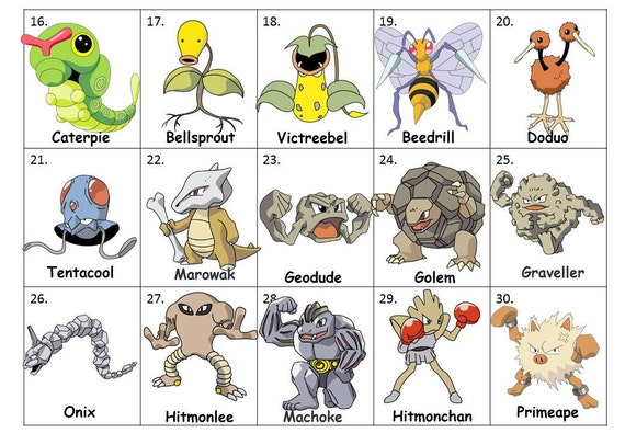 40 Printable Pokemon Go Bingo Cards Prefilled Clip Arts And Numbers