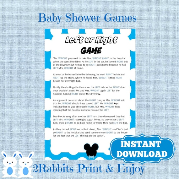 Mickey Mouse Left Or Right Baby Shower Game Instant Download Etsy