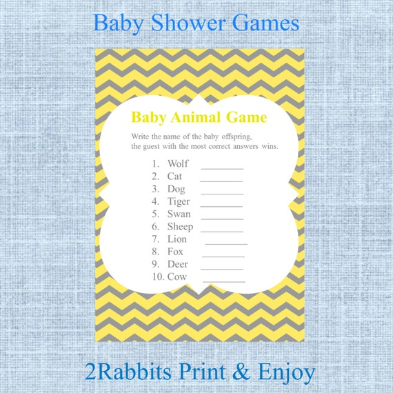 Baby Animal Name Game Name The Baby Animal Baby Shower Game Etsy