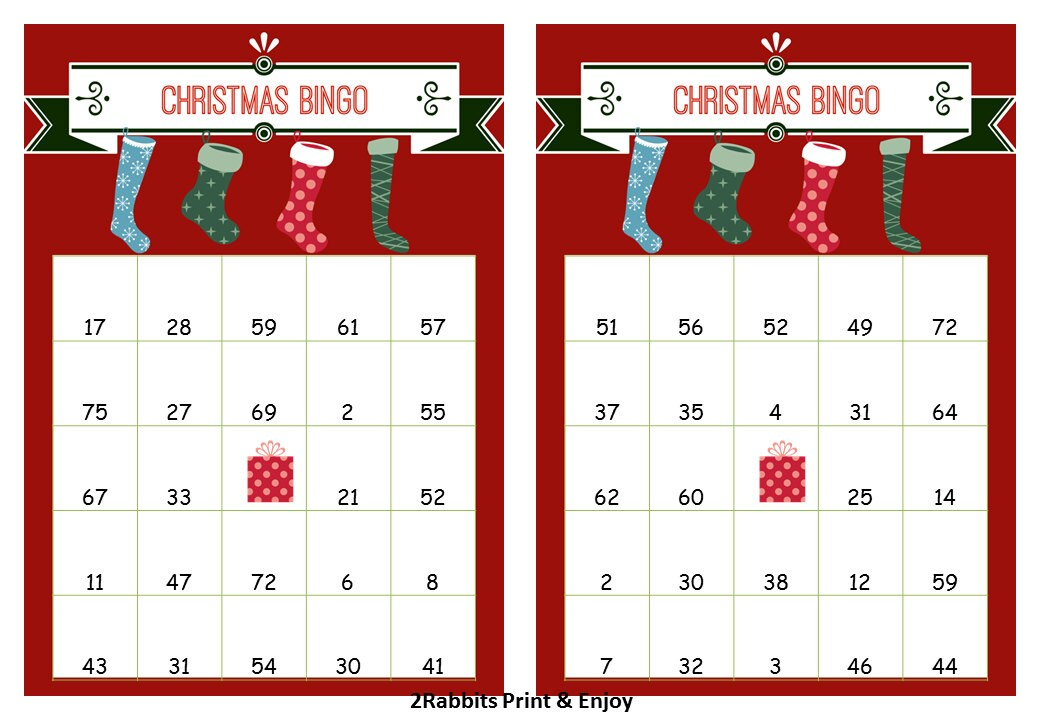 40 Printable Christmas Bingo Cards Prefilled with Numbers | Etsy