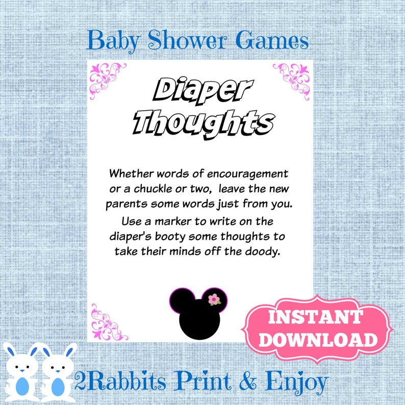 Mickey Mouse Baby Shower Dirty Diaper Game Or Minnie Mouse Dirty Diaper Game