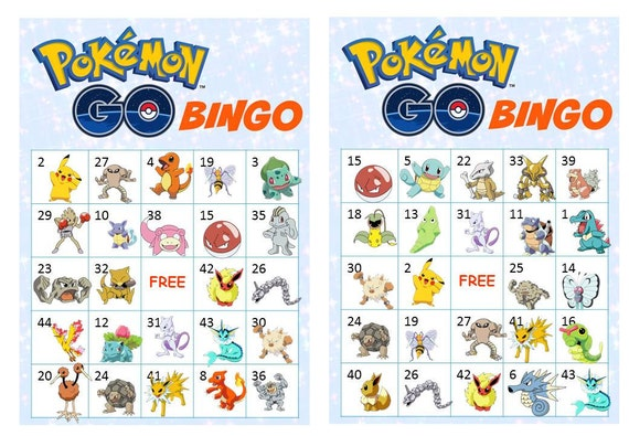 40 Printable Pokemon Go Bingo Cards Prefilled Clip