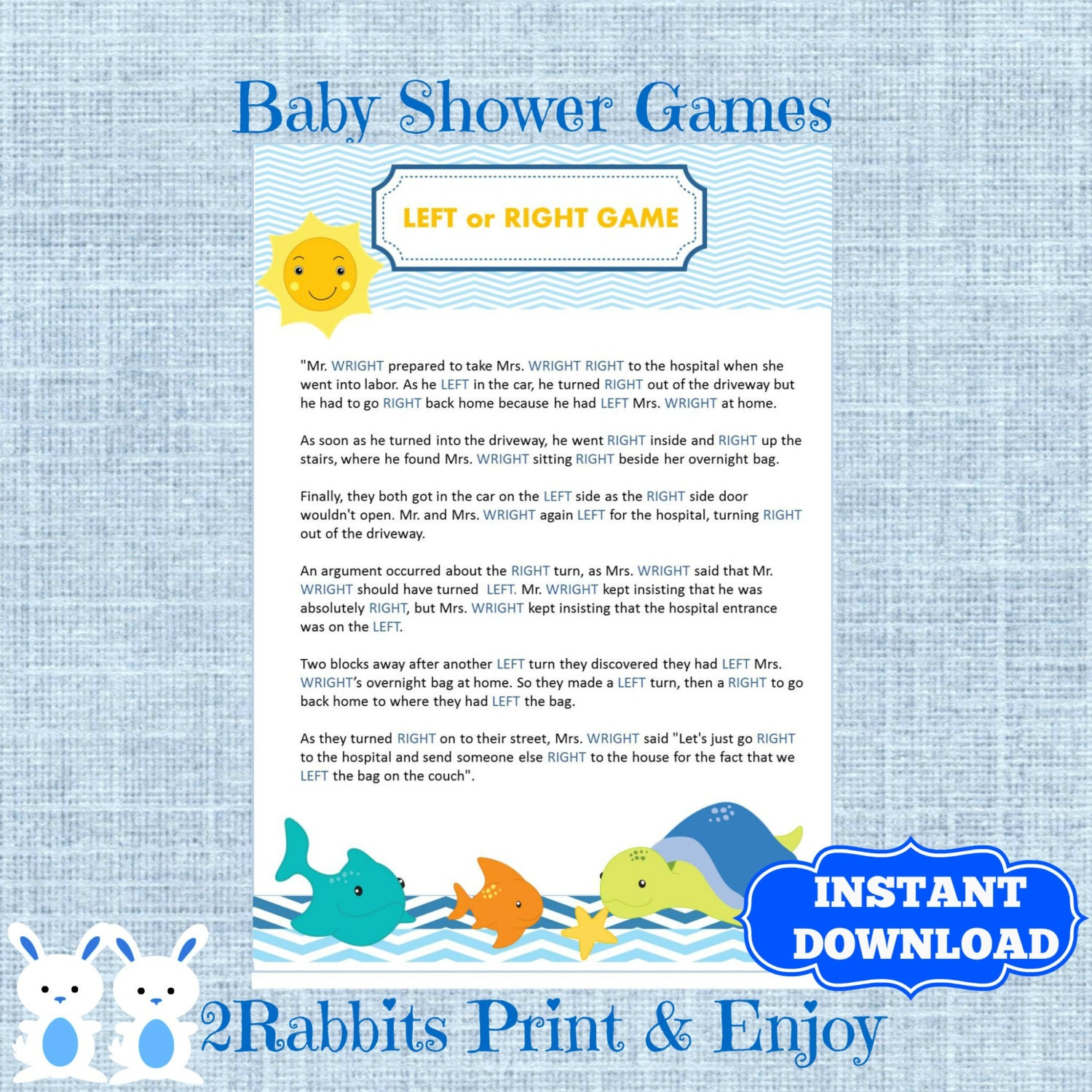 Under The Sea Left Or Right Baby Shower Game Instant Etsy