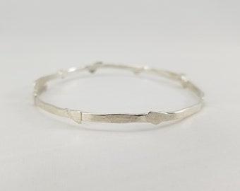 silver chip bangle - bracelet