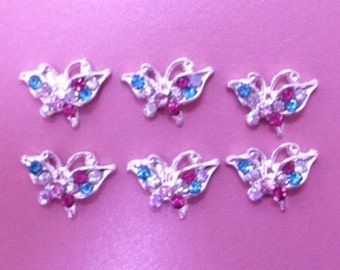 6 Tiny Rhinestone Butterflies Craft Cabochon Nail Art  Nail Decoration Multi Color Butterflies