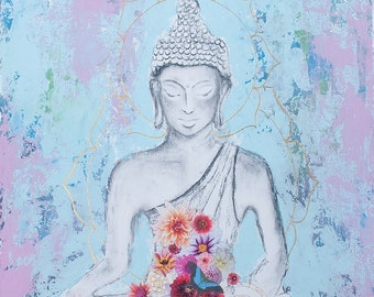 And Now This Mixed Media Collage Art Buddha Giclee Print