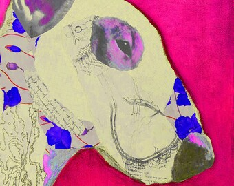 PinkBullie Mixed Media Collage Art Giclee Print English Bull Terrier