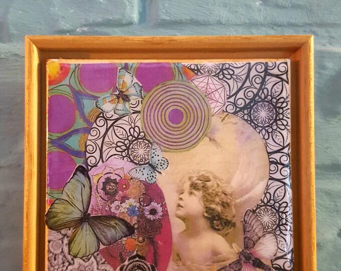 Framed Original Collage Tile Art...Angel & Butterfly
