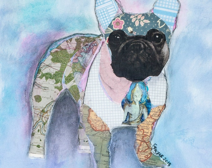 Frenchie   French Bulldog collage mixed media  Giclee print
