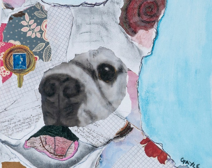 Colonel Mustard  Collage mixed media french bulldog Giclee Print