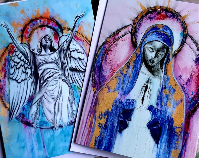 Art card pack of 8 Cards...4  each of two designs Uriel & Sancta Maria