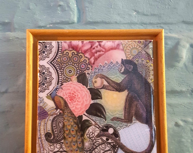 Framed Original Collage Tile....Monkey & Peacock