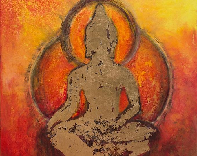 Gold Buddha  Mixed Media Giclee Print