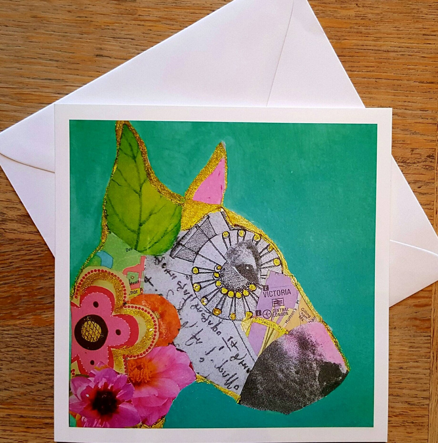 VICTORIA..English Bull Terrier Collage Art Card Greeting Card