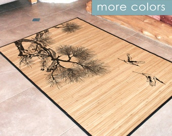 Bamboo rug - Cranes illustration in black and grey, Art Mat
