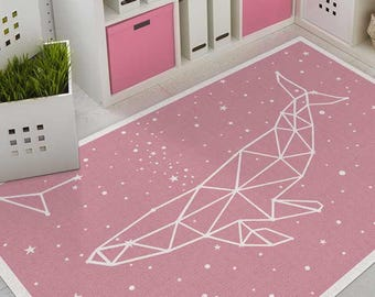 Pink vinyl rug with whale constellation and stars. Linoleum rug, PVC carpet, Art Mat printed mats.