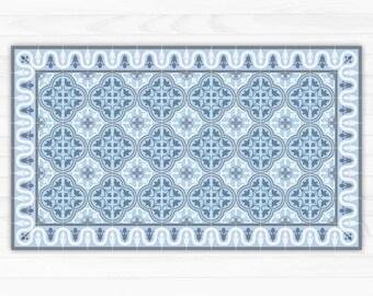 VinylBodenmatte Mit Dekorativen Fliesen Design In Blau Etsy - Vinyl matte fliesen