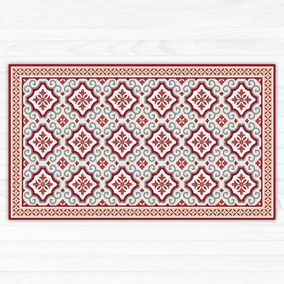 Red And Grey Linoleum Rug Area Rug Vinyl Mat With Tiles And