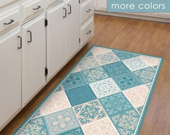Vinyl floor mat, kitchen mat, with tile design in turquoise and blue. PVC kitchen rug, linoleum rug, area rug, door mat.