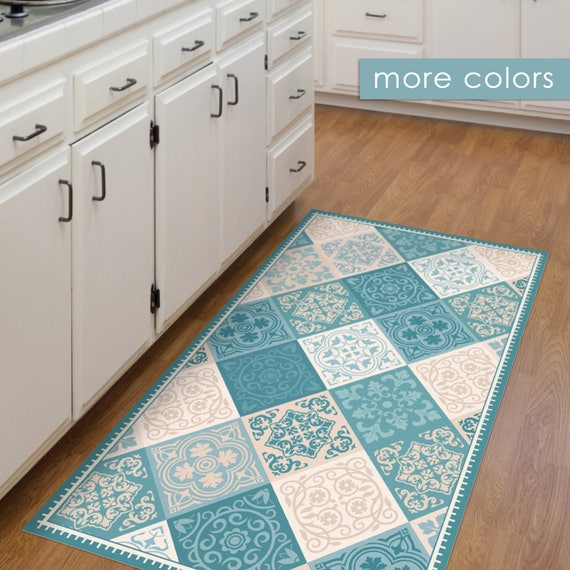 Vinyl floor mat kitchen mat with tile design in turquoise | Etsy