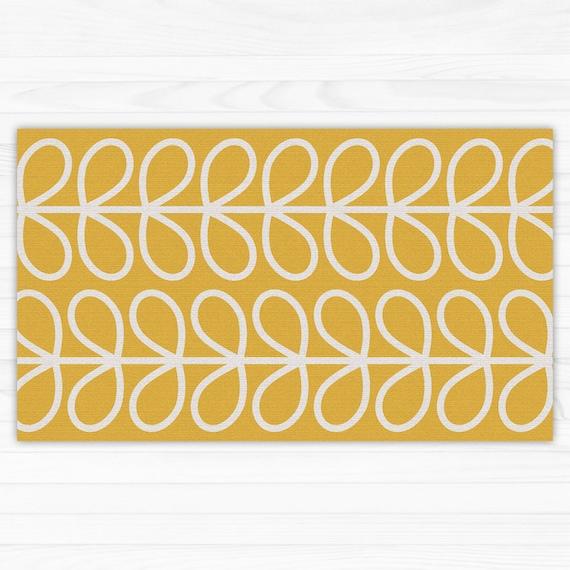 Vinyl kitchen rug with yellow leaves. vinyl floor mat, door mat, PVC bath  mat, easy to clean and printed to order. Art Mat.