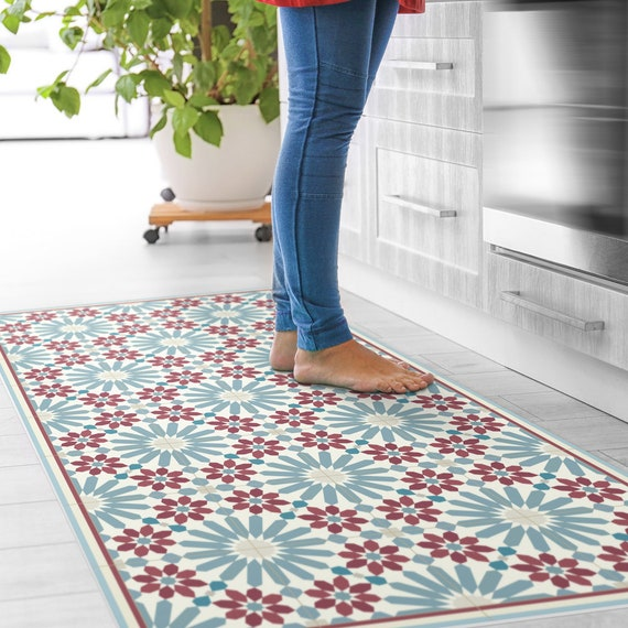 Vinyl Floor Mats >> Vinyl Floor Mat With Moroccan Tiles In Blue And Red Linoleum Style Rug With Zellige Design Vinyl Kitchen Rug Bath Mat Pet Mat Art Mat