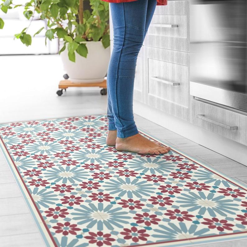 Vinyl Floor Mats >> Vinyl Floor Mat With Moroccan Tiles In Blue And Red Linoleum Style Rug With Zellige Design Vinyl Kitchen Rug Bath Mat Pet Mat Art Mat