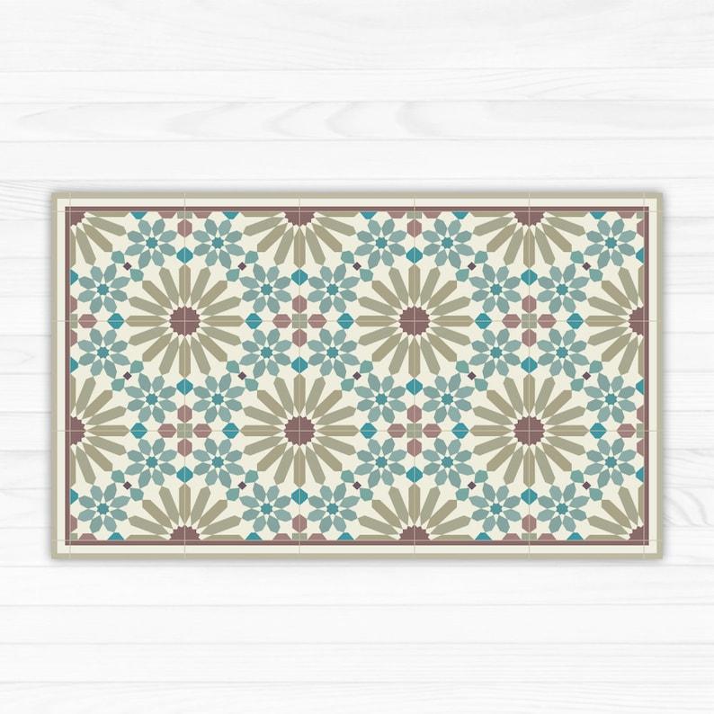 Vinyl Floor Mats >> Vinyl Floor Mat Kitchen Mat With Moroccan Tiles Pattern In Turquoise And Olive Green Pet Feeding Mat Vinyl Rug Bath Mat Pet Mat