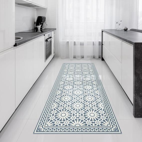 Vinyl runner rug or hallway runner with Moroccan tiles design in blue and  beige  Linoleum style rug with zellige tiles  Vinyl tiles Art Mat