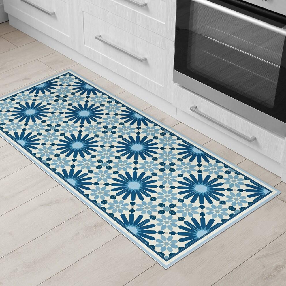 Dark Blue Kitchen Mat Vinyl Floor Mat With Moroccan Tiles Etsy